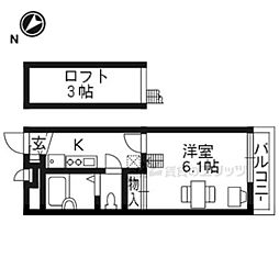JR東海道・山陽本線 南草津駅 徒歩24分の賃貸マンション 3階1Kの間取り