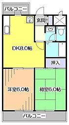 東京都東大和市仲原3丁目の賃貸マンションの間取り