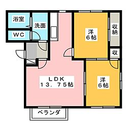 K'sホームB棟[2階]の間取り
