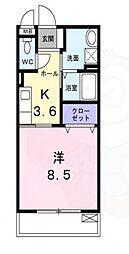 近鉄南大阪線 高見ノ里駅 徒歩7分の賃貸アパート 2階1Kの間取り