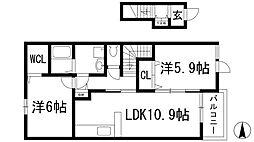 兵庫県川西市見野2丁目の賃貸アパートの間取り
