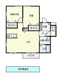 JR山形新幹線 山形駅 バス20分 下条下車 徒歩5分の賃貸アパート 2階2LDKの間取り