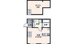 PRIMA東大阪 1階ワンルームの間取り