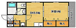 兵庫県神戸市北区南五葉5丁目の賃貸アパートの間取り