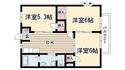 ルフラン小幡A・B[B202号室]の間取り