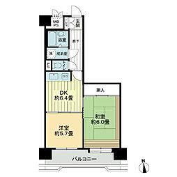ライオンズマンション清水台[5階]の間取り