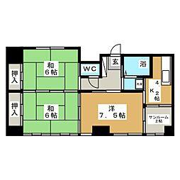 横山ハイツ[3階]の間取り