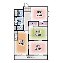 愛知県清須市西枇杷島町宮前1丁目の賃貸マンションの間取り