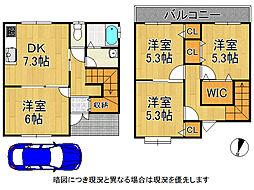 京都市西京区大枝東長町 中古一戸建て 4DKの間取り