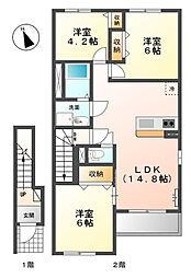 広島県東広島市西条町西条東の賃貸アパートの間取り