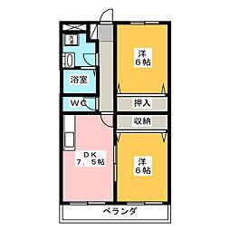 静岡県静岡市駿河区丸子新田の賃貸マンションの間取り