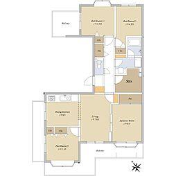 米ヶ袋シティハウス 4階4LDKの間取り