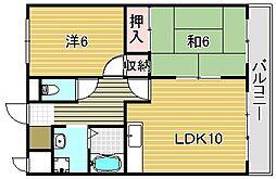 大阪府吹田市新芦屋上の賃貸マンションの間取り