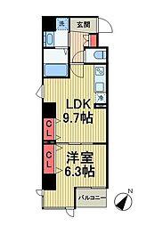 東京メトロ有楽町線 月島駅 徒歩3分の賃貸マンション 5階1LDKの間取り