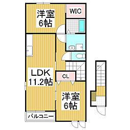 長野県松本市大字岡田町の賃貸アパートの間取り