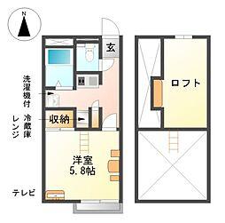 愛知県津島市橘町4の賃貸アパートの間取り