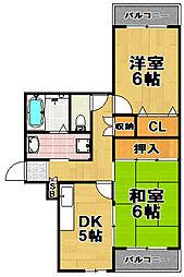 梅香ハイツ[6階]の間取り