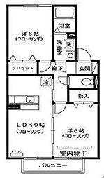 埼玉県戸田市笹目北町の賃貸アパートの間取り