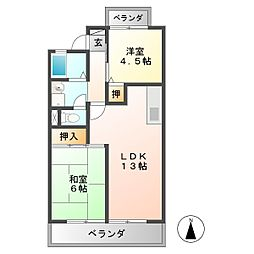 グランディール矢島[2階]の間取り