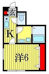 京成本線 船橋競馬場駅 徒歩4分の賃貸アパート 1階1Kの間取り
