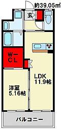 ウイングス三萩野[14階]の間取り