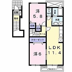 JR徳島線 穴吹駅 4kmの賃貸アパート 2階2LDKの間取り