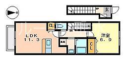 ワイドプライジア[2階]の間取り