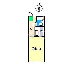プラザオカムラ[1階]の間取り