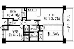 大阪府岸和田市上松町の賃貸マンションの間取り