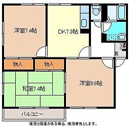 長野県長野市稲田1丁目の賃貸アパートの間取り
