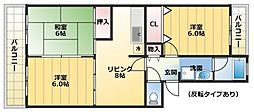 エクレール平川B棟[206号室]の間取り
