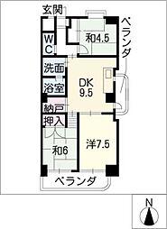 メナージュ徳川[4階]の間取り