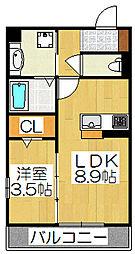 京都府京都市伏見区石田森南町の賃貸アパートの間取り