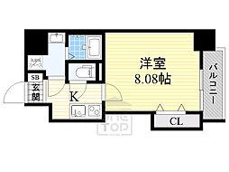 ドゥエリングASAHI 6階1Kの間取り