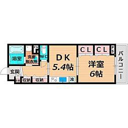京阪本線 千林駅 徒歩5分の賃貸マンション 4階1DKの間取り
