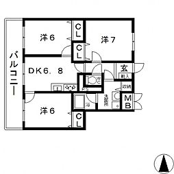 ハイツ天王寺2号館[3階]の間取り