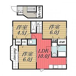 JR総武本線 榎戸駅 徒歩8分の賃貸アパート 2階3LDKの間取り