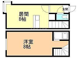 ドミトリ澄川 1階1LDKの間取り