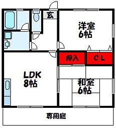 福岡県福津市東福間2丁目の賃貸アパートの間取り