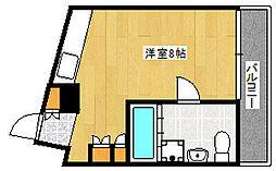 阪急神戸本線 王子公園駅 徒歩5分の賃貸マンション 2階ワンルームの間取り