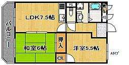 サンライズ住之江公園[6階]の間取り