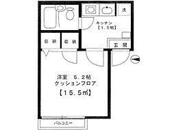 東京都武蔵野市境3丁目の賃貸アパートの間取り