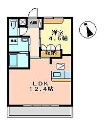 埼玉県熊谷市別府4丁目の賃貸アパートの間取り