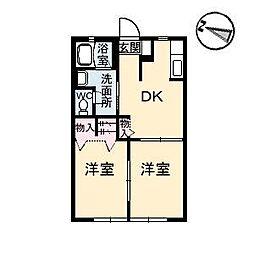 広島県福山市赤坂町大字赤坂の賃貸アパートの間取り