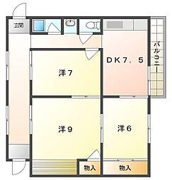 第7川辺ビル 5階3DKの間取り
