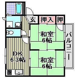サンローズ久米田[A202号室]の間取り