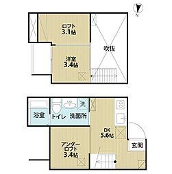 愛知県名古屋市中村区烏森町1丁目の賃貸アパートの間取り