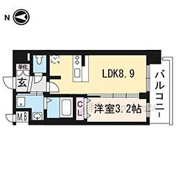京都市営烏丸線 十条駅 徒歩5分の賃貸マンション 4階1LDKの間取り