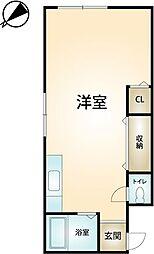コーポイトウ 2階ワンルームの間取り