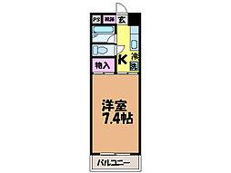 愛媛県松山市土居田町の賃貸マンションの間取り